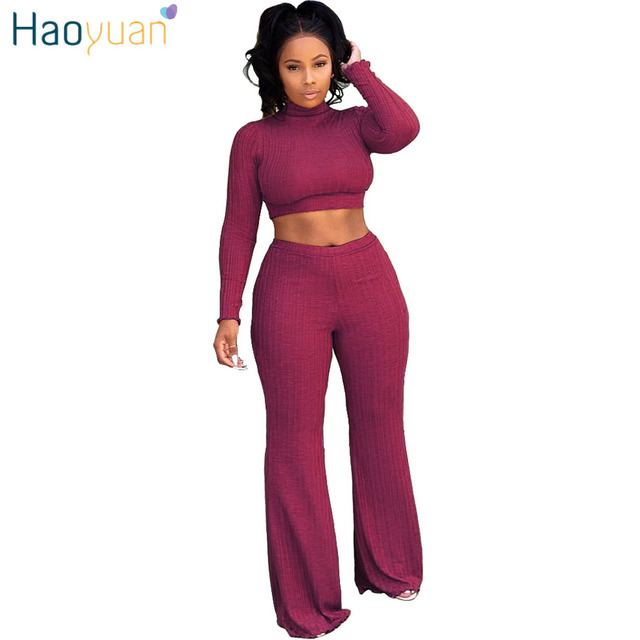 604c104681 HAOYUAN Sexy Two Piece Jumpsuits Turtleneck Long Sleeve Bodysuit Winter  Overalls Streetwear Knit Bodycon Rompers Womens Jumpsuit