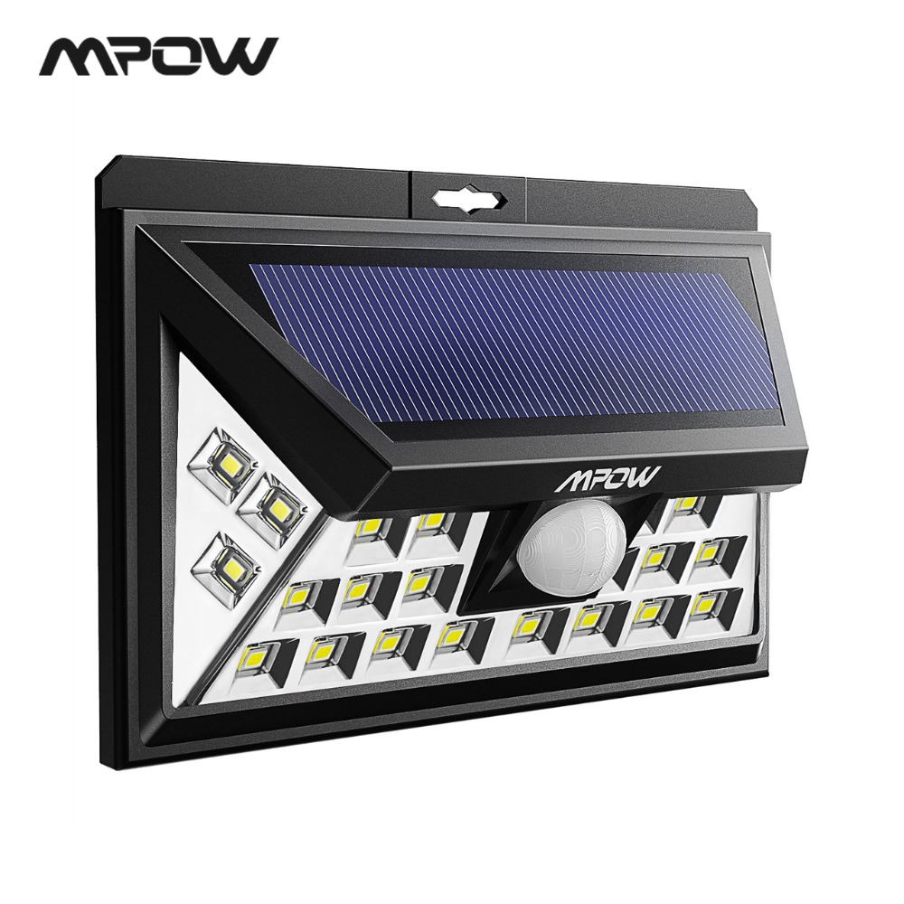 Mpow CD012 24 LED Solar Night Lights Motion Sensor Outdoor LED Lamp Wide Angle Wireless Security Patio Deck Garden Fence Pathway mpow 4pcs mini 10 led solar power lighting security waterproof outside wall panel lampion fence garden deck yard led night lamp