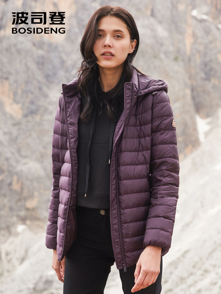 BOSIDENG 2018 new early winter duck down jacket for women hooded lightweight down coat with detachable hat B80131012B