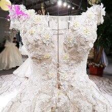AIJINGYU свадебное платье принцессы, скромное импортное платье с рюшами, пикантное, по цене, скромное свадебное платье