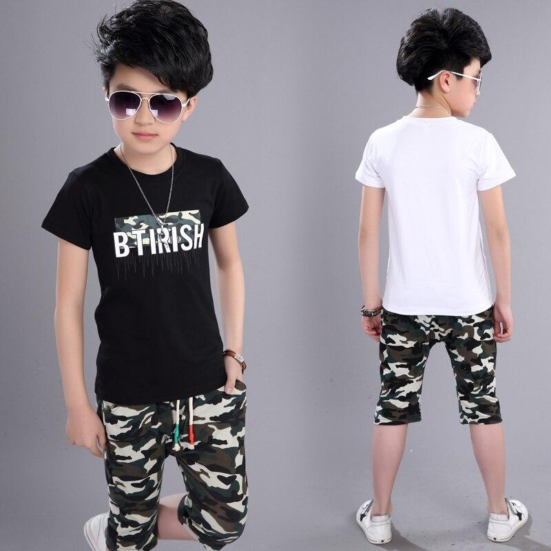 Conjuntos de Roupas 2018 novas Crianças de verão para Crianças Menino 2 pcs Mangas Curtas T-Shirt Da Criança Ternos Camuflagem Calções Criança Roupas Ternos