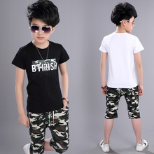Summer Children Boy Clothes 2018 new Sets Kids 2pcs Short Sleeves T-Shirt Toddler Suits Camouflage Shorts Child Clothing Suits цена