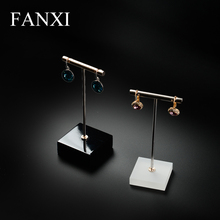 цена на FANXI free shipping T shape soild wood white color jewelry display stand for earrings ear stud exhibitor counter shop decoration