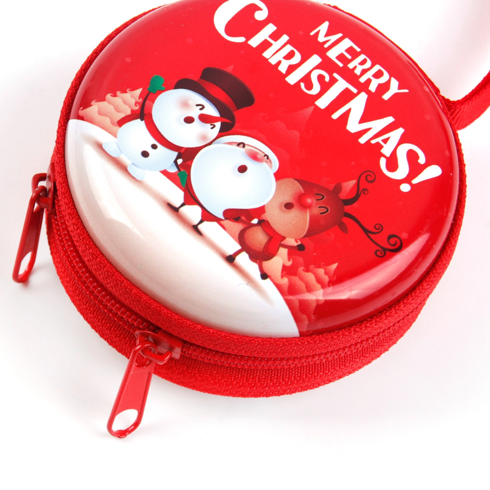 Christmas Tin Plate Coin Purse Headset Case