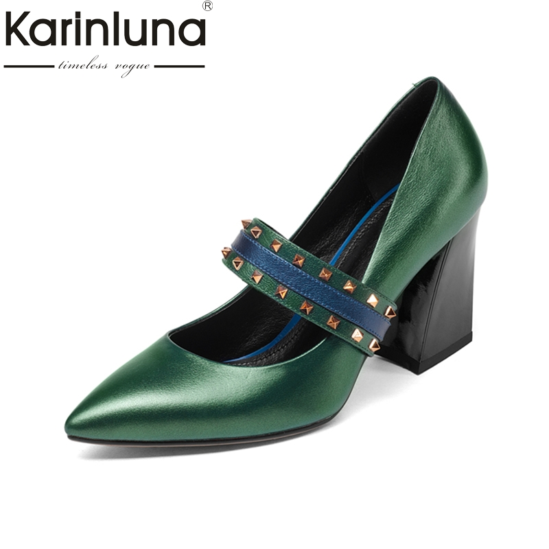 KARINLUNA genuine leather size 34-39 black Women Pumps thick high heels Pointed Toe Office Ladies Shoes Woman party dating wetkiss genuine leather lace up pumps female shoes woman pointed toe autumn thick high heels platform ladies shoes black yellow