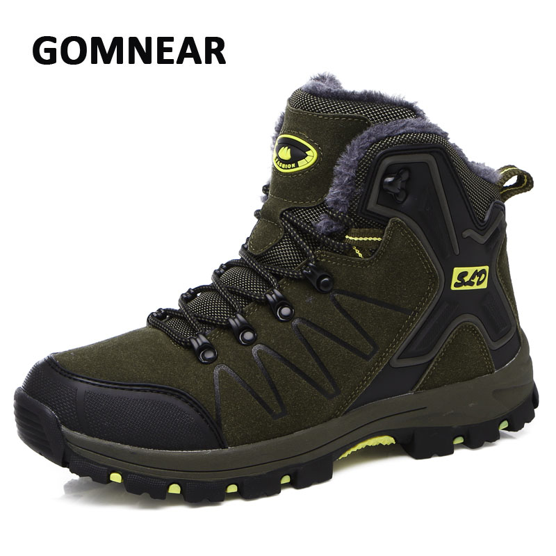 GOMNEAR New Winter Plus velvet Men Hiking Shoes Non-slip Breathable Trekking Walking Sneakers Outdoor Mountain Climbing Boots new handmade hiking shoes for men climbing boots breathable and non slip cowhide outdoor sneakers free shipping