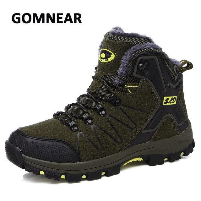 92d13e9bc5 Gomnear nuevo invierno más el terciopelo hombres zapatos para caminar  antideslizantes transpirable zapatillas para caminar botas