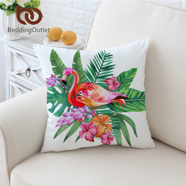 BeddingOutlet Flamingo Cushion Cover Floral Pillow Case Tropical Extraordinary Pink And Green Decorative Pillows