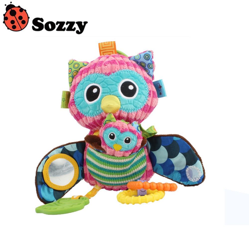 Sozzy Multifunctional Baby Toys Rattles Mobiles Soft Cotton Infant Pram Stroller Car Bed Rattles Hanging Owl Plush Toys