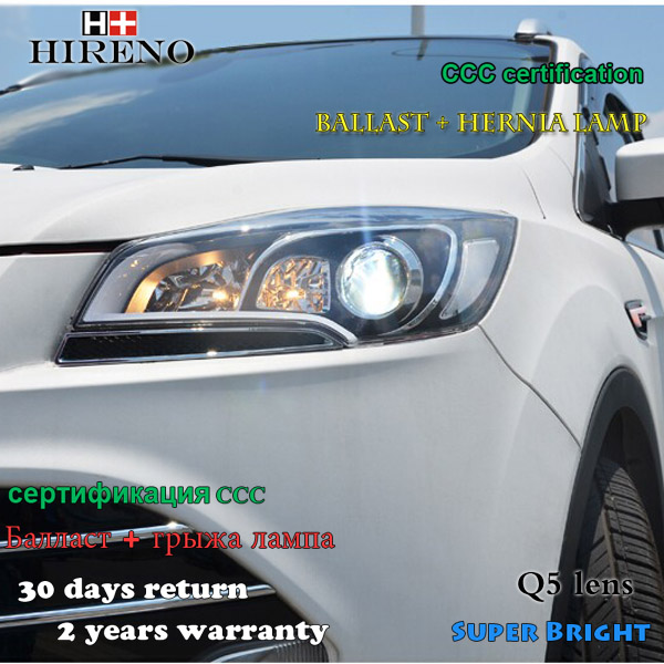 Hireno Headlamp for 2013-2015 Ford Kuga Escape SE Headlight Assembly LED DRL Angel Lens Double Beam HID Xenon 2pcs hireno headlamp for mercedes benz w163 ml320 ml280 ml350 ml430 headlight assembly led drl angel lens double beam hid xenon 2pcs