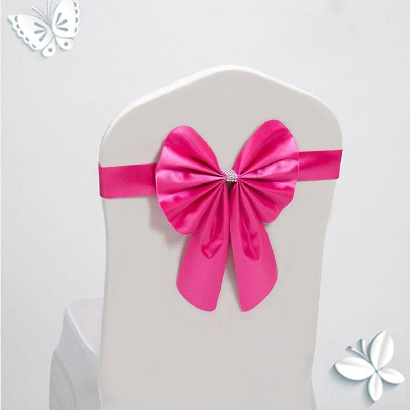 Wedding Chair Cover Sash Bow Tie Ribbon Decoration Wedding Party Supplies Wedding Banquet Decoration Organza Bow A5