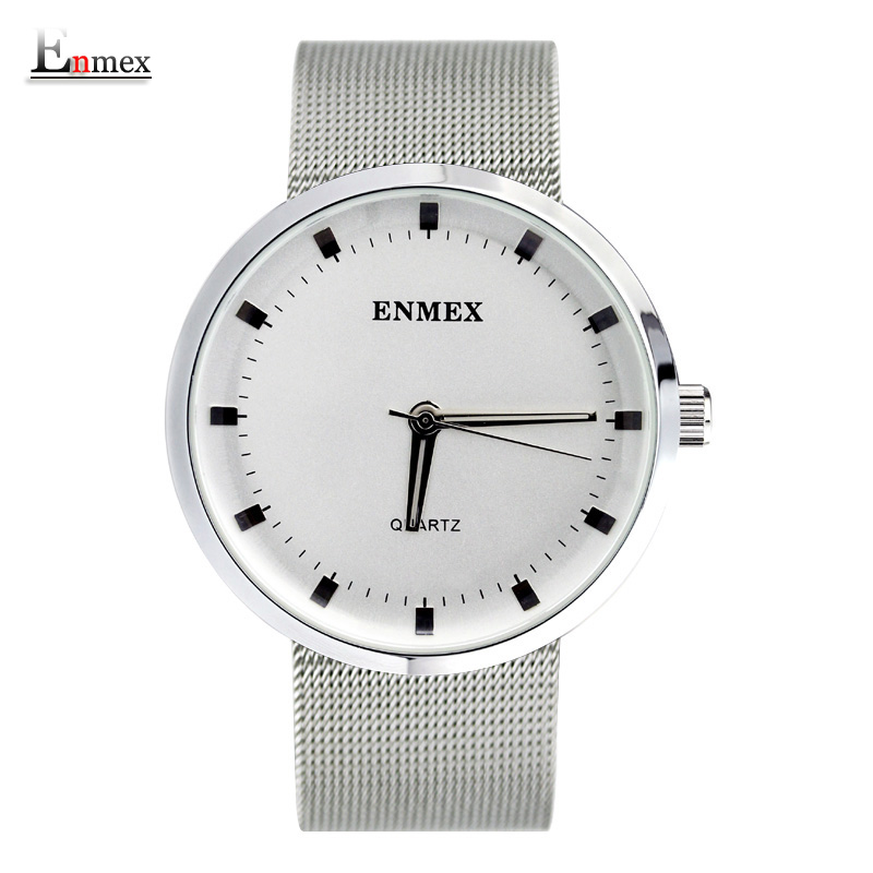 2017Enmex creative wristwatch Nordic design simplicity Fresh and clean style stainless steel simple face fashion quartz