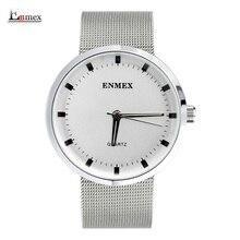 2017 Enmex reloj creativo Nordic simplicidad de diseño Fresco y limpio estilo simple cara relojes de cuarzo de moda de acero inoxidable
