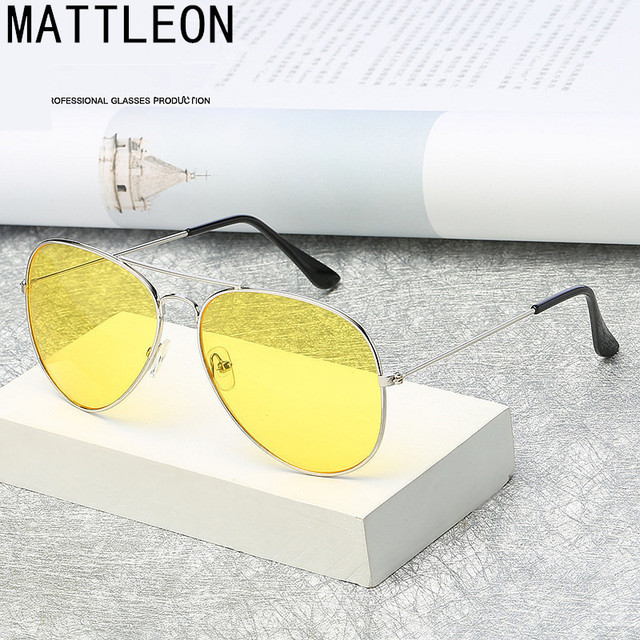 2019 NEW Pilot Aviation Night Vision Sunglasses Men Women Brand Goggles Glasses Sun Glasses Driver Night Driving Eyewear UV400