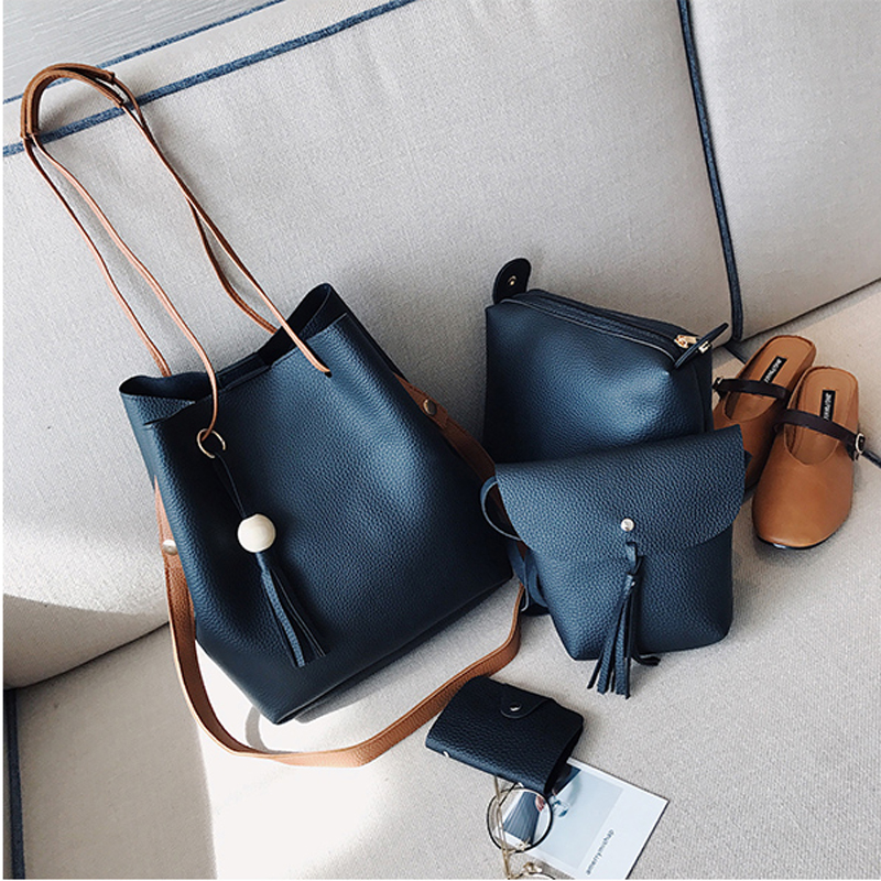 4PCS Set PU Leather Bucket Composite Bags Tassel Shoulder Crossbody Bag Drawstring Handbag Ladies Totes Clutch