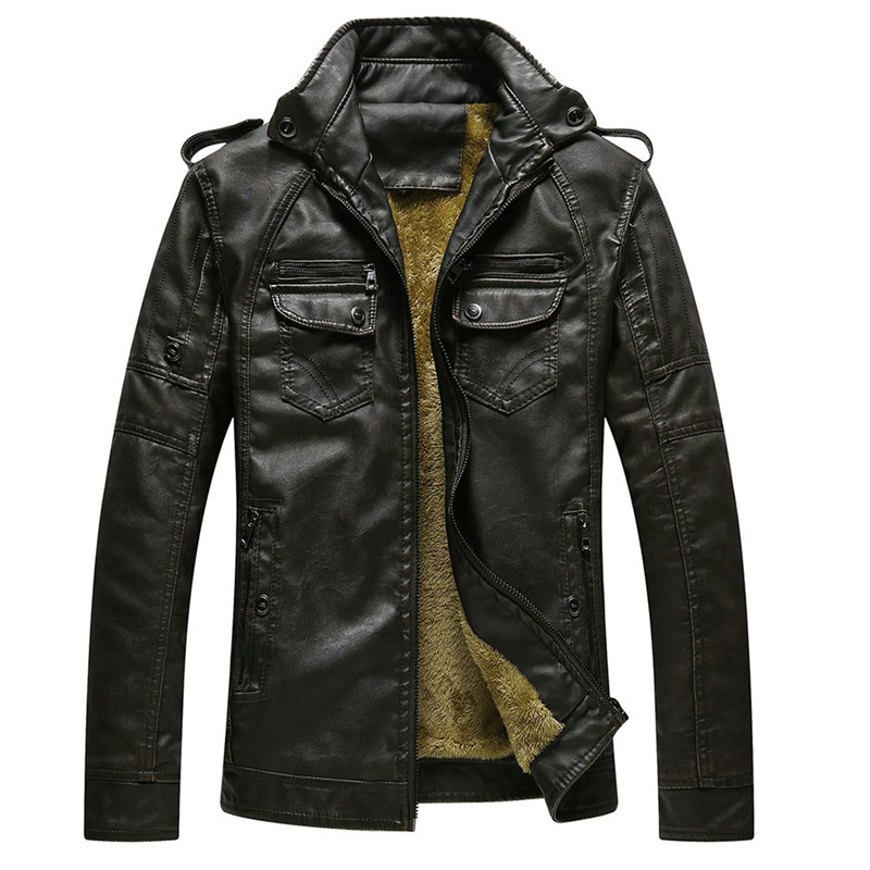 2018 New Winter Leather Jacket Men With Washed Drop Shipping Standing Collar Leather Jackets Coat Mens High Quality Jacket
