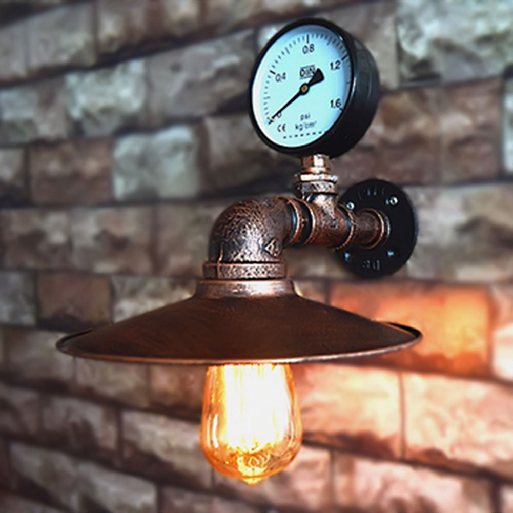 ФОТО Industrial Retro Iron Waterpipe Wall Lamp With Iron Lampshade Bar Coffee Shop Decoration Wall Light Lamparas Fixture