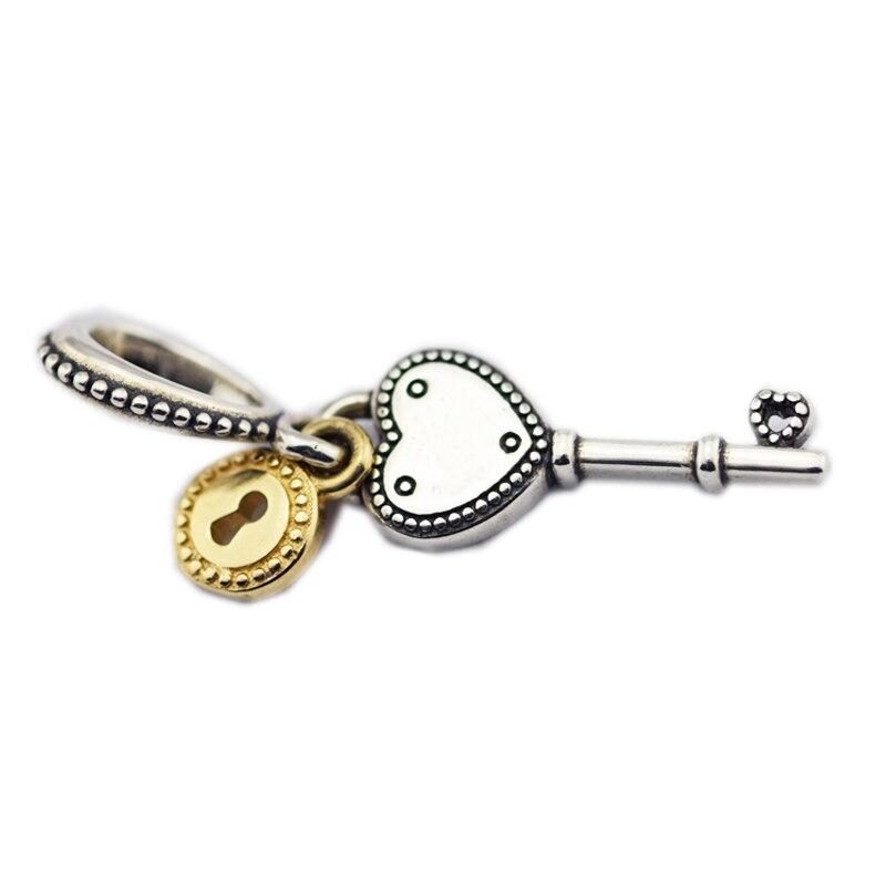 Key to My Heart Charm 14k Real Gold Padlock 100% 925 Sterling Silver Key Charms Pendants Fit Bracelet & Necklace DIY PF683KKey to My Heart Charm 14k Real Gold Padlock 100% 925 Sterling Silver Key Charms Pendants Fit Bracelet & Necklace DIY PF683K