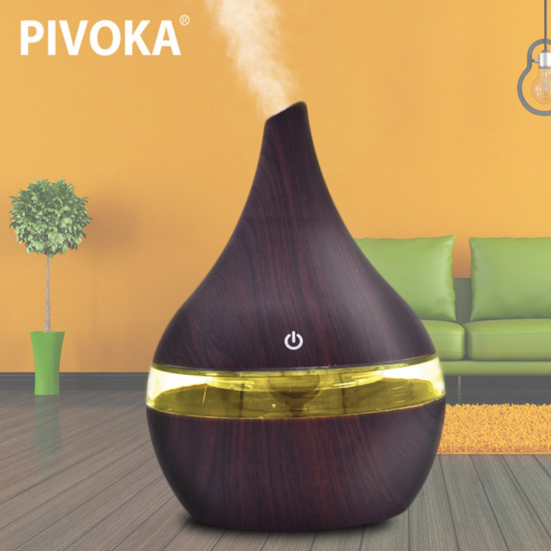 PIVOKA 300ml wood Grain Electric Air Humidifier Ultrasonic Essential Oil Diffuser Aroma Treatment 7 Color LED