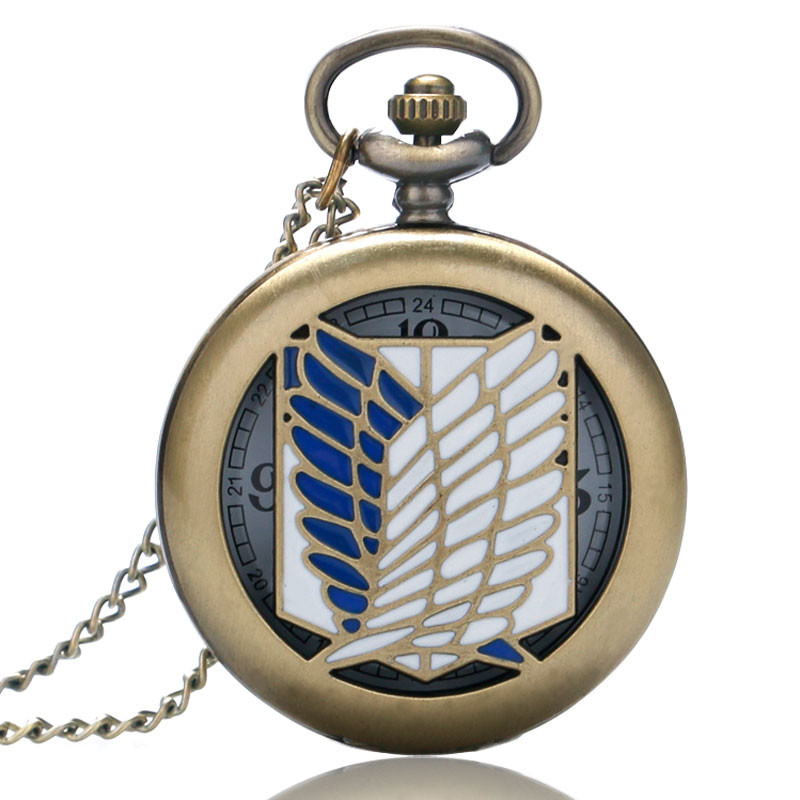 Unique Pocket Watch Attack on Titan Scouting Legion Survey Corps Cosplay Pocket Watches for Men Women Reloj Mujer Gifts