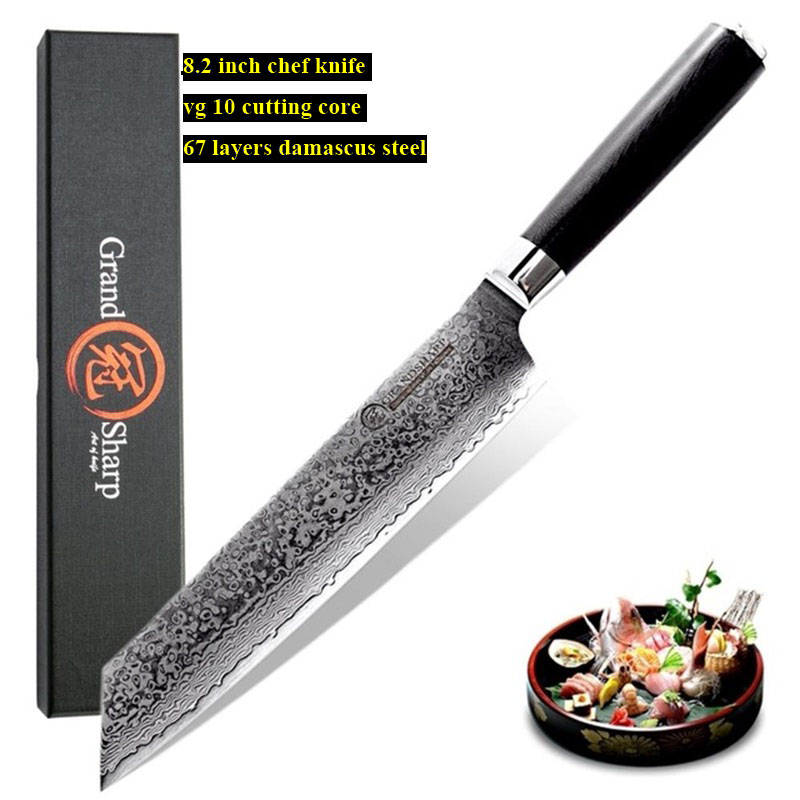 8.2'' VG10 Damascus Steel Japanese Kitchen Knives G10 Handle Razor Sharp Japanese Damascus Blade Chef Knife Gift Box Grandsharp-in Kitchen Knives from Home & Garden    1