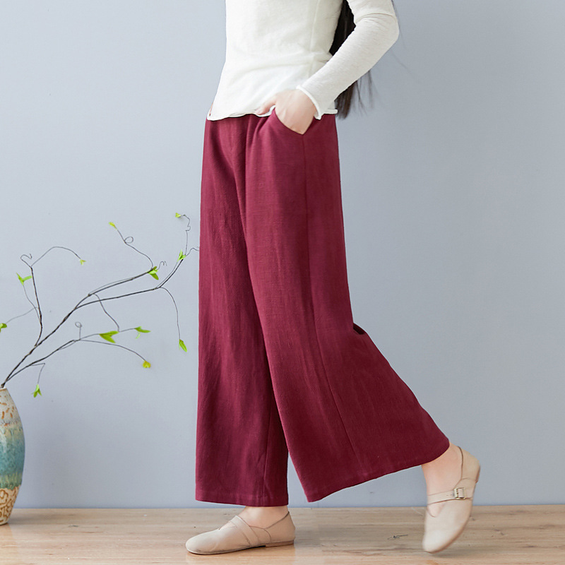 Literary Retro Wind Casual Solid Color Cotton Straight   Pants   Loose   Pants     Wide   Elastic Waist   Wide     Leg     Pants   Trousers Women