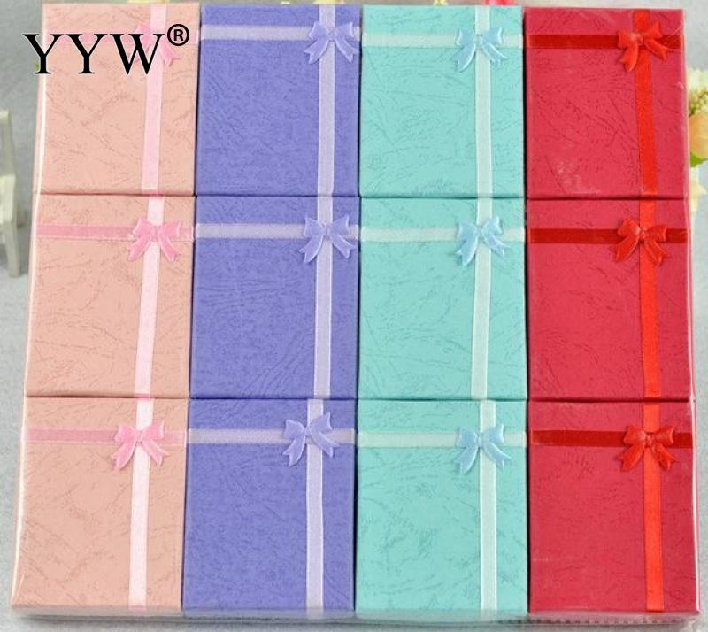 16 шт. Ювелирные наборы Дисплей картонную коробку для Цепочки и ожерелья Серьги кольца box упаковка подарочная коробка атласная лента Дисплей...