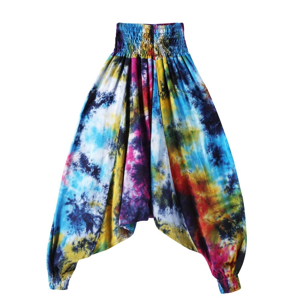 India Ethnic Style Floral Harem Pants Elastic Waist Baggy Bloomers Female Low Drop Crotch culottes Casual Boho trousers DMK2