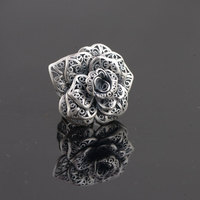 FNJ 925 Silver Rose Flower Ring Fashion Statement Real S925 Sterling Thai Silver Rings for Women Jewelry Adjustable Size
