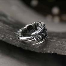 цены New Punk Silver Men Ring 925 Sterling Silver Rings Eagle Claw Resizable Personality Rocking Ring for Gift