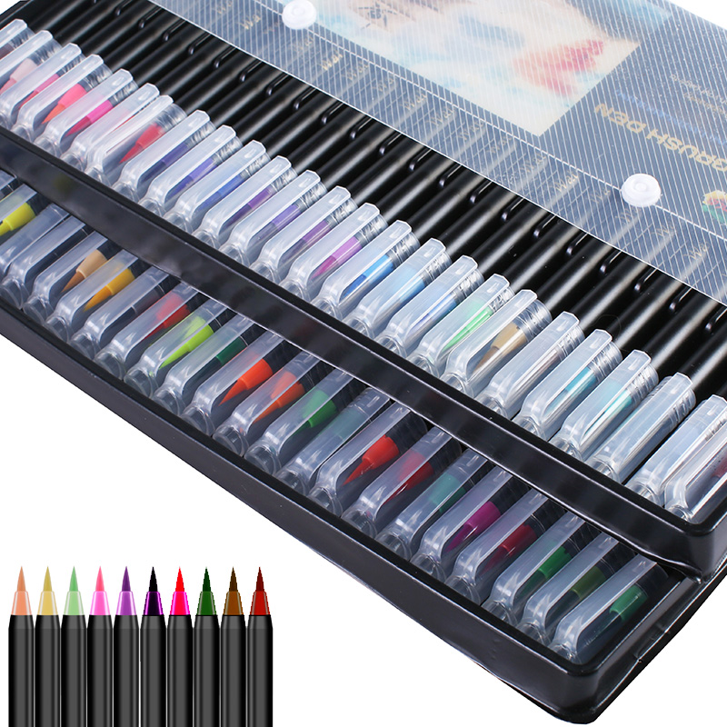 24 Color Calligraphy Brush Pen Set With Hand Lettering Guide Book Fine Tip Pencils Liner Dual Brush Tip Markers Colored Pens