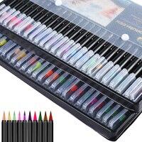 24 cores caligrafia escova caneta conjunto com mão rotulação guia livro ponta fina lápis forro dupla escova ponta marcadores canetas coloridas