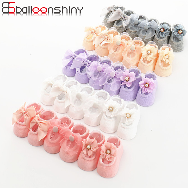 BalleenShiny 3 Pairs Bowknot Socks Baby Girls Princess Lace Flower Short Socks Child Kids Soft Cotton Socks For Gift Hot Sale