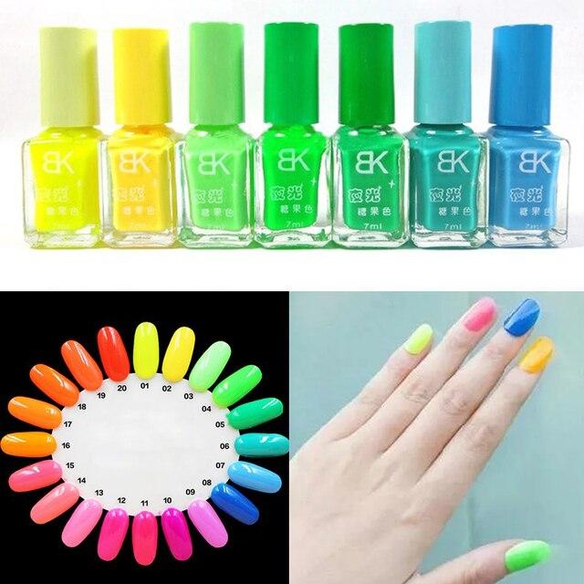 LNRRABC Fashion 7ML Candy Colors Fluorescent Neon Luminous Nail Art ...
