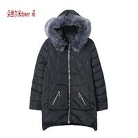 Dote me Jaqueta Feminina Inverno 2017 Casaco de Inverno Mulheres De Pele colar Morno Mulher Parka Outerwear Para Baixo casaco Jaqueta de Inverno Feminino casaco