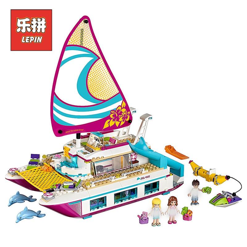 цены на Lepin 01038 Friends Cute Boat Sunshine Catamaran Bricks Toy Girl Gifts Compatible Legoinglys 41317 Model Building Blocks Friends в интернет-магазинах