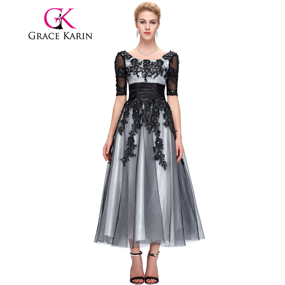 Grace Karin Long Lace Evening Dresses 2018 Elegant Half Sleeve Black White Champagne Formal Dress Ball Evening Gowns Plus Size