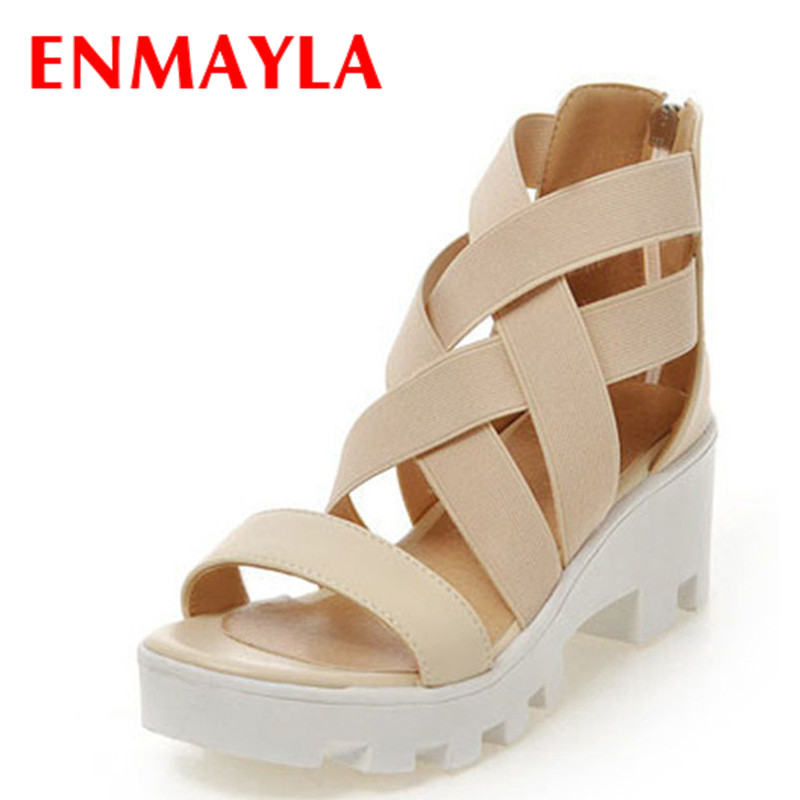 ENMAYLA Open Toe Gladiator Sandals Women Cover Heels High Heels Platform Sandals Summer Shoes Woman Beige Black Sandals Size 43  enmayla flowers wedges heels platform sandals women open toe high heels shoes woman solid color ladies sandals female shoes