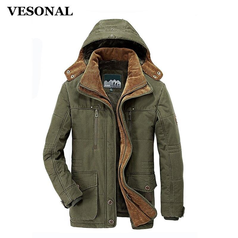 VESONAL Winter Thick Padded Parka Men Jacket Coat Russian Wadded Long Hooded Casual Warm Snow Windbreaker Overcoat Male Jackets robe bilbao