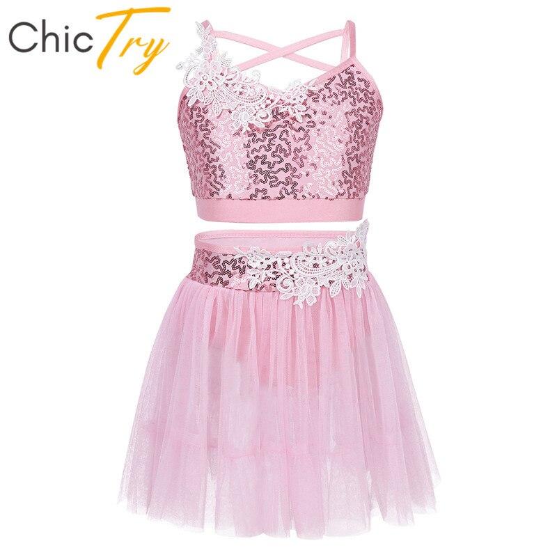 ChicTry Kids Sequins Crop Tops Gymnastics Leotard Tutu Ballet Skirt Set Girls Figure Ice Skating Dress Lyrical Dance Costumes