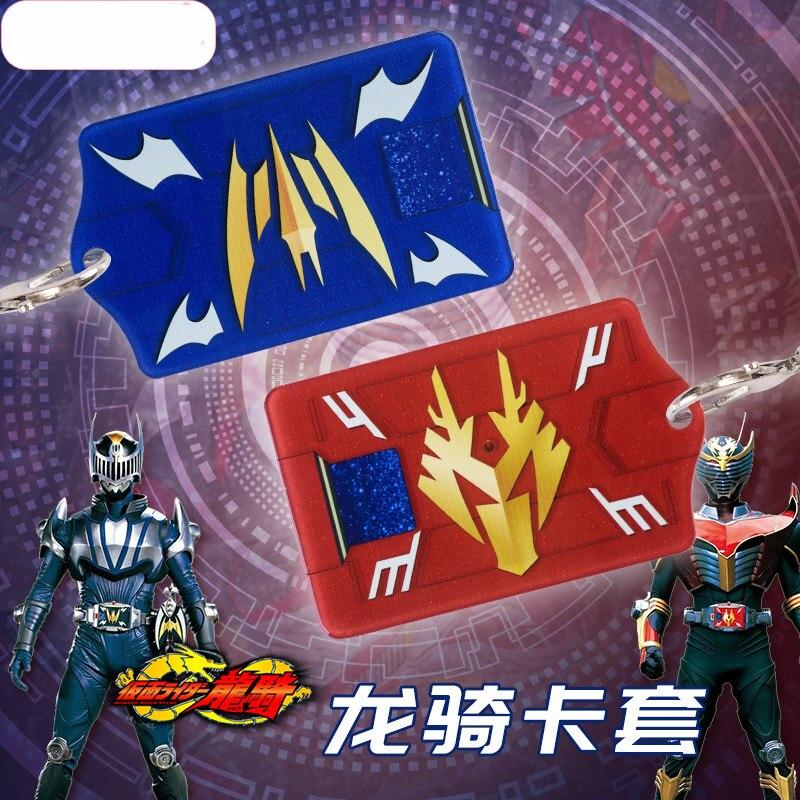 Anime Kamen Rider Masked Rider Ryuga Ouja Ryuki Knight  Acrylic Cards Holder Bus Pass Business Card Case Keychain Bag's Pendant