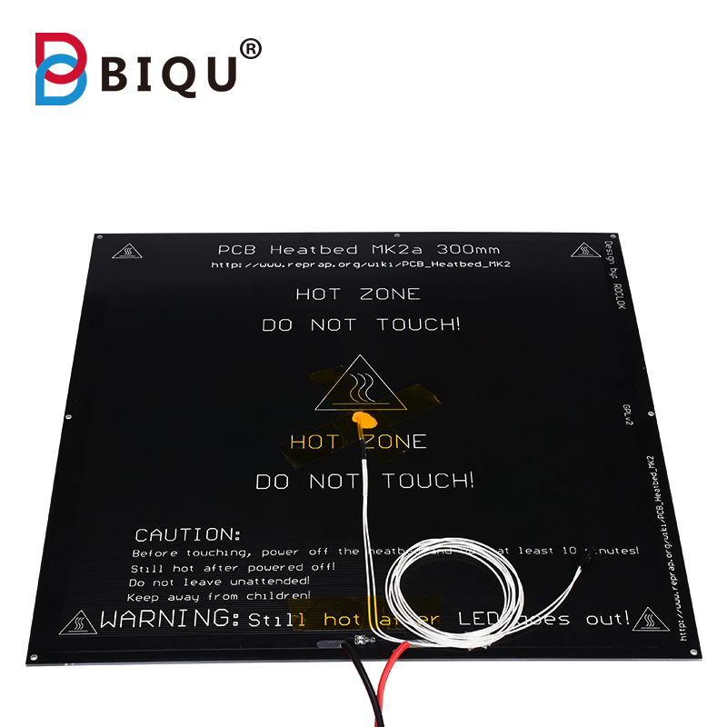 MK2A PCB heatbed 300*300*2mm with cable+Thermistor 100k 12V 24V RepRap RAMPS 1.4 PCB Hot Plate For Mendel 3d printer part biqu mk2a aluminum heatbed hot plate 300 300 3mm black for mendel reprap ramps 1 4 3d printer parts