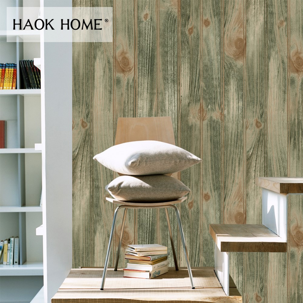 Haokhome Vintage Distressed Wood Plank PVC Vinyl Wallpaper for wall 3d Sticker Olive Green Living Room Bedroom Home Decoration picture of mermaid pattern home appliances decoration 3d wall sticker
