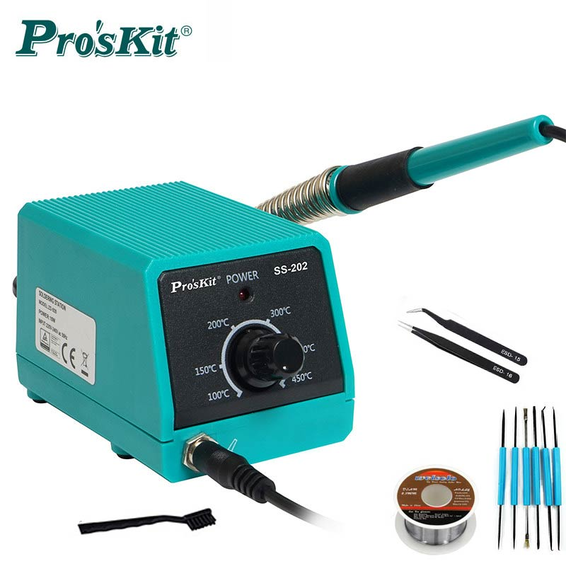 Pro'skit SS-202G Professional Mini Soldering Station With Slim Soldering Iron Tips Portable For Soldering And Desoldering