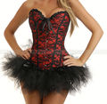 Red Lace Burlesque Overbust Corset Lace up Bustier Sexy Lingerie + TuTu Skirt S M L XL 2XL
