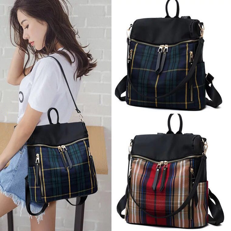 New women plaid Backpacks Oxford cloth Backpack Female Trendy backpack Designer School Bags Teenagers Girls Travel Mochilas crochet baby costume set knit rabbit hat newborn photography props carrot hat pants 3 pieces set baby photo shoot accessories
