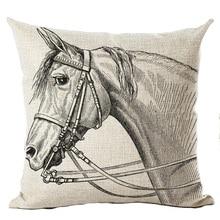 45x45cm Cartoon Colorful Horse Cushion Cover Cotton Linen Thow Pillow Cover Cushion Case Sofa Bedroom Decorative Pillows