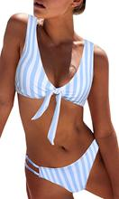 Bikini Sets Women's Sexy Detachable Padded Cutout Push Up Striped Bikini Set Two Piece Swimsuit