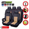 (Car-Pass) Pu Leather Gray/Black/Red/Beige Universal Auto Car Seat Covers Car Interior Car-Covers 5 seats