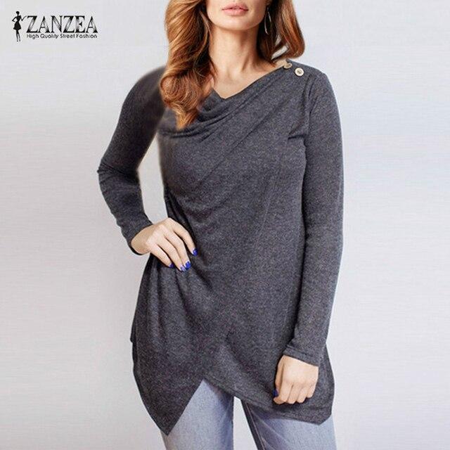 ZANZEA 2018 New Women Long Sleeve O Neck Blouses Fashion Ladies Solid Slim Button Asymmetrical Blusas Femininas Cotton Shirts